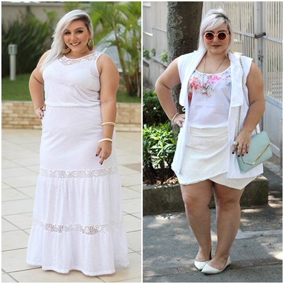 look plus size total branco